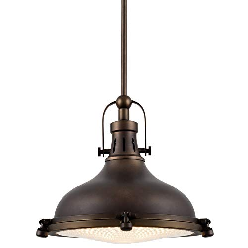 """Kira Home Beacon 11"""" Industrial Farmhouse/Nautical Pendant Light with Round Fresnel Glass Lens, Adjustable Hanging Height, Oil-Rubbed Bronze Finish"""