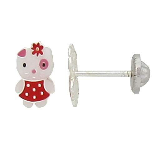 Ohrstecker für Mädchen, Katze, Blume, Rot, 8x5 mm, Silber 925, Sicherheitsmutter