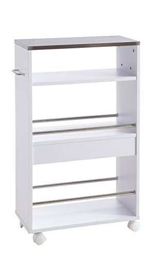 hot-stock - Carro Auxiliar de Cocina con Ruedas (Madera y Metal), Color Blanco