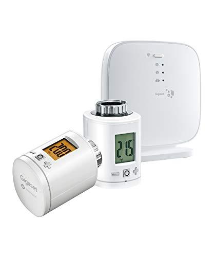 Gigaset Elements Heizkörper-Thermostat-Set - 2 Gigaset Smart-Home Thermostate und Basisstation für intelligente Heizkörperregelung, weiß