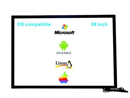 Deyowo - Marco de pantalla táctil infrarrojo de 58 pulgadas, superposición de pantalla táctil, panel táctil, controlador gratuito para pizarra interactiva y monitor LCD táctil TV