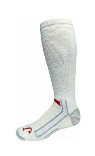 Justin Mens White Full Cushion Over the Calf Socks (8-12, White)