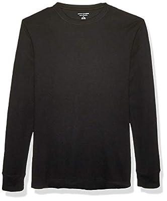 Amazon Essentials Men's Regular-Fit Long-Sleeve Waffle Shirt, Black, X-Large