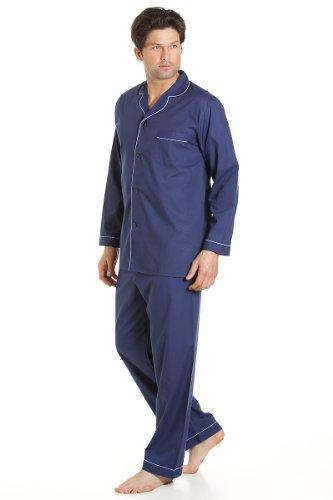 Haigman - Pigiama da uomo, abbigliamento da notte, a maniche lunghe, tuta con pantaloni, colore: blu cielo Navy 3XL