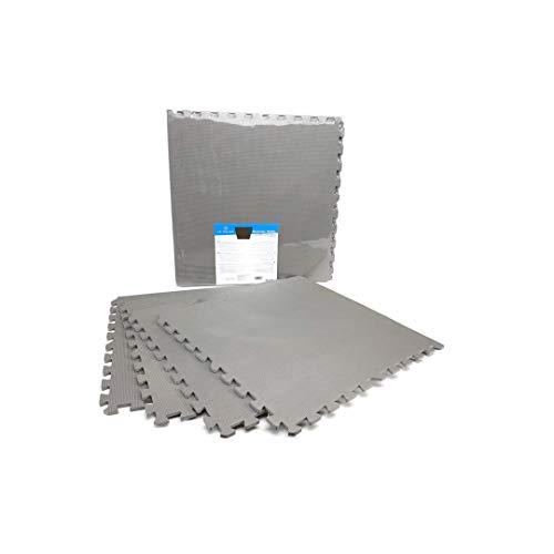 LEYENDAS Esterilla Puzzle de Fitness y de Goma Espuma | Set de Protección para el Suelo | Alfombrilla Protectora Expandible | para Máquinas de Deporte y Gimnasios | Fácil de Limpiar (Gris, 60X60)