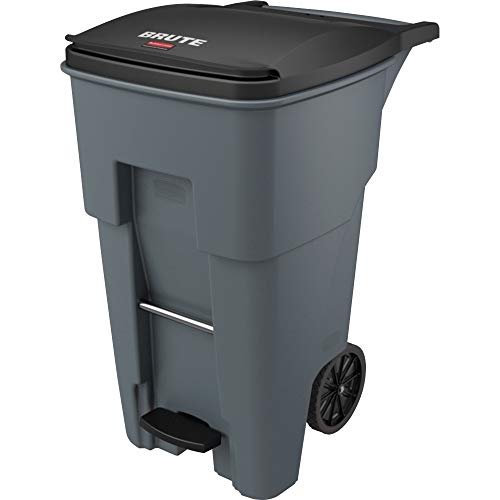 """Rubbermaid Commercial 1971968 Brute Step-On Rollout Trash Can, 65 gal/246 L, 44.740"""" Height, 25.330"""" Width, Gray"""