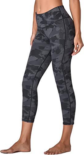Oalka Women's Yoga Capris Running Pants Workout Leggings Camo Charcoal...
