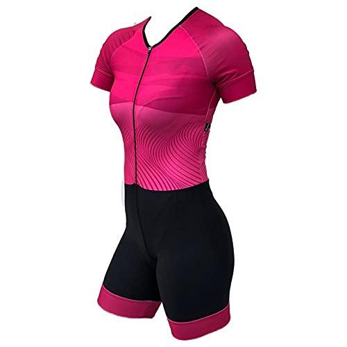 Ciclismo Jersey Triatlón Skinsuit Traje Jumpsuit Mujer Ropa Set de manga corta Profesión de trajes de carreras 9D Gel (Color : 19, Size : M)