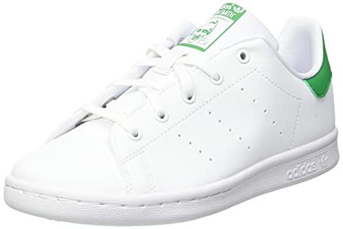 adidas Stan Smith J, Scarpe da Ginnastica, Ftwr White/Ftwr White/Green, 37 1/3 EU