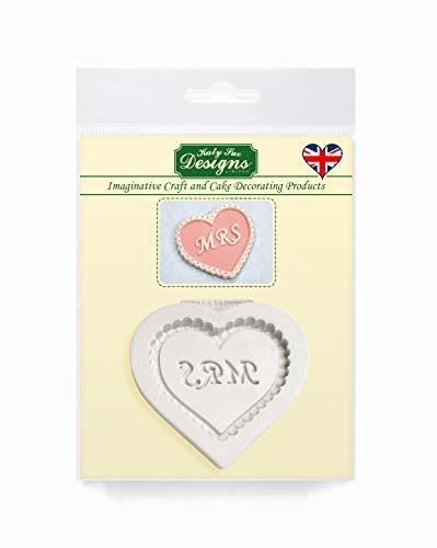 Mevrouw hart plaque siliconen mal voor Valentijn en bruiloft taart decoratie, cupcakes, suikerwerk, snoepjes, ambachten en klei, voedselveilig