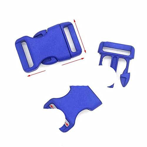Hebillas de liberación lateral contorneadas de plástico de 25 mm para pulseras de paracaídas/respaldo, 500 unidades, color azul oscuro