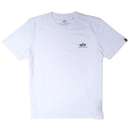 ALPHA INDUSTRIES Basic T Small Logo T-Shirt aus Baumwolle mit kleinem Brustdruck, Größe:XL, Farbe:White