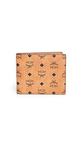 MCM Men's Visetos Original Flap Wallet, Cognac, Brown, Print, One Size