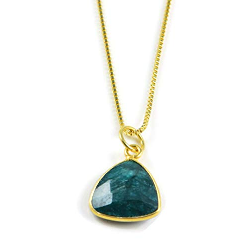 Birthstone Necklace May Semi-Precious Stone Necklace Genuine Gemstone pendant Emerald925 Sterling Silver with- 18k Gold vermeil- 16'-18' Adjustable Chain Jewellery for Women-AqBeadsUk