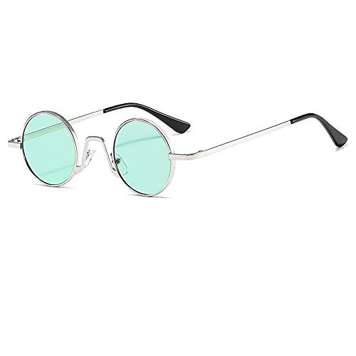 Gafas De Sol Gafas De Sol Redondas Punk De Metal para Mujer, Gafas De Sol Clásicas De Diseñador para Hombre, Gafas De Sol Uv400 para Mujer, C6, Plateado-Verde