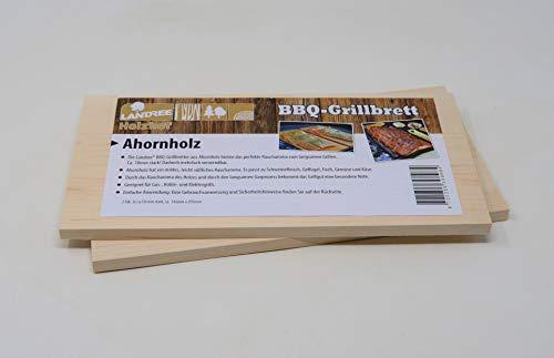 Landree® BBQ Ahorn Grillbrett Räucherbrett Planks Set 2Stk mehrfach verwendbar (!) (Ahorn)