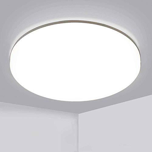 Aogled LED Deckenleuchte 24W 2400LM 4000K Naturweiß Rund,28cm Durchmesser,180 Abstrahlwinkel,Badlampe IP54 Wasserfest,Wohnzimmer-lampe, Deckenlampe,Deckenstrahler,Weiß,Badezimmer und Balkon Geeignet