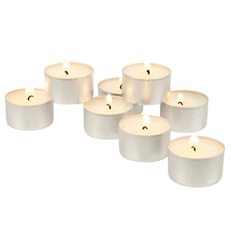 Kiss Thy Bliss 8 Hour Long Burn Jaspers Tealight Candles - Bag of 50 Tealights, white, unscented Tea lights Ideal for Birthday Celebration, Wedding Ceremony, Premium quality wax great tlights