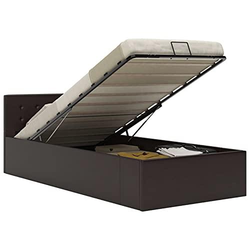 Susany Cama canapé hidráulica Cuero sintético Gris 90x200 cm Estructura de Cama (Colchón no Incluido)