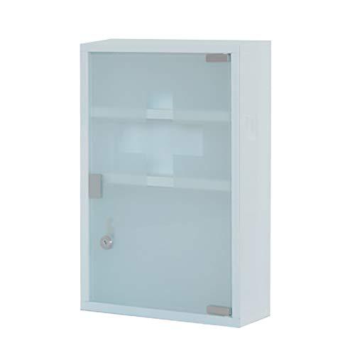HS-Lighting Medizinschrank Arzneischrank Edelstahl Erste Hilfe Schrank abschließbar, Glas Tür mit Tip-on Automatik (Weiß-3 Fächer)