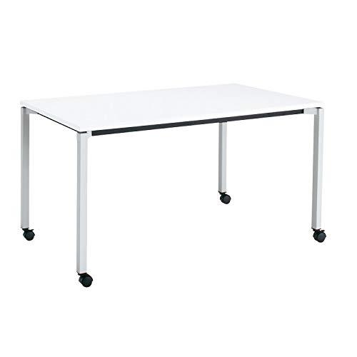 コクヨ ミーティングテーブル JUTO MT-JTK157S81MAW-CN 角形天板 4本脚 角脚 スクエアコーナー 幅150×奥行75cm 天板ホワイト/脚フラットシルバー キャスター付