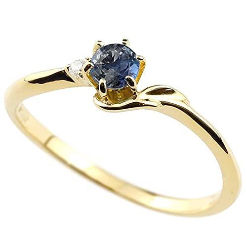 [アトラス]Atrus 指輪 レディース 10金 イエローゴールドk10 ブルーサファイア ダイヤモンド イニシャル ネーム F ピンキーリング 華奢リング アルファベット 9月誕生石 人気 6号