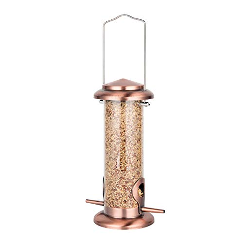 Bird Feeder Hanging Wild Bird Seed Feeder for Mix Seed Blends Heavy Duty All Metal AntiUV Copper Finishing 8 Inch Seed is not Included