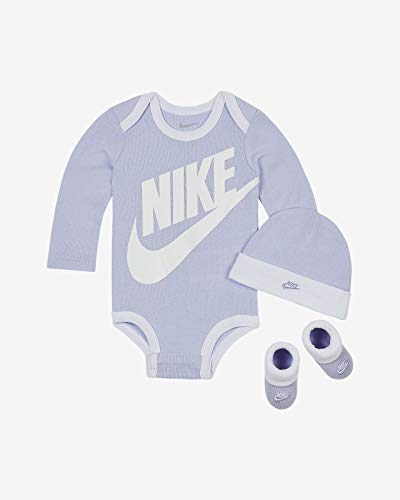 Nike - Juego de 3 piezas para bebé (6-12 meses, color morado y blanco)