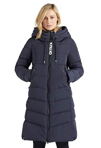 khujo Damen Mantel AYLEENA Steppjacke lang einfarbig Kapuze Zwei-Wege-Reißverschluss