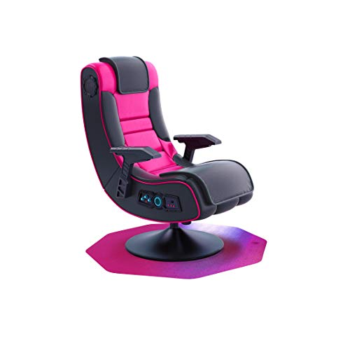 """Floortex Gaming E-Sports Floor Mat, Pink Polycarbonate for Carpet Protection 38"""" x 39"""" chair Hard-Floor Mats"""