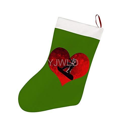 YJWLO Liefde Snowboard HeartChristmas Kousen Sok Cadeauhouders Decoratie voor Feestvakantie Kerstmis