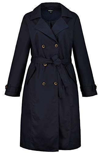 Ulla Popken Femme Grandes Tailles Trench-Coat, Ceinture à Nouer, Doublure Bleu Marine 48/50 727444 70-46+