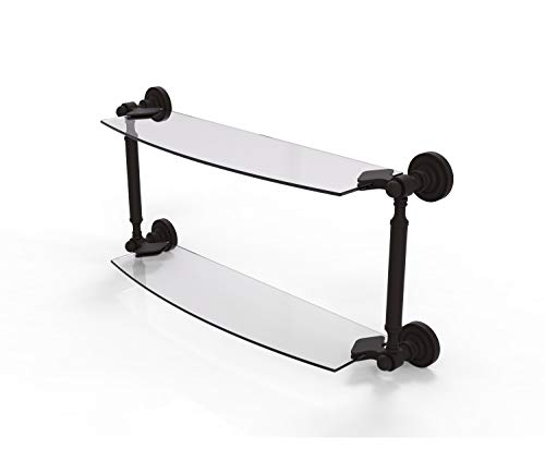 Allied Brass DT-34/24 Dottingham Collection 24 Inch Two Tiered Glass Shelf, Oil Rubbed Bronze