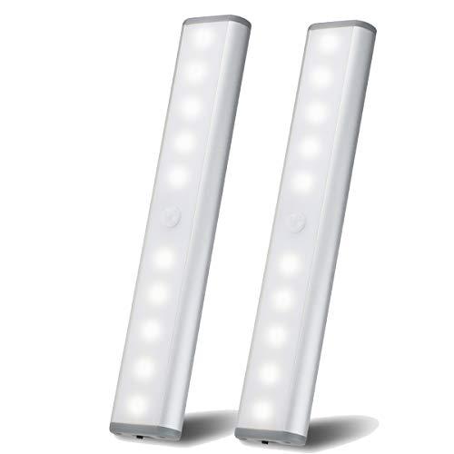 Bewegingssensor Kastverlichting, Verlichting onder de kast, 10 LED draadloze USB oplaadbare keukenverlichting, op batterijen werkende lampen, Stick On Lights voor kledingkast, kasten, kast, Wit licht-2-pack