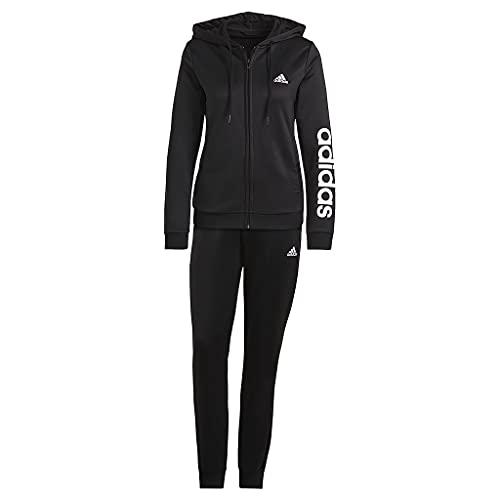 adidas Damen Essentials Logo French Terry Trainingsanzug, Black/White, M