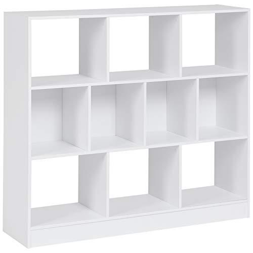 MSmask 10 Fächer Bücherregal Holzregal mit offenen Fächern freistehend Raumteiler Regal Aufbewahrungsregal Medienregal Aktenregal