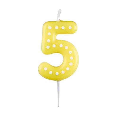 amscan 10023041 9900915 Zahlenkerze 5, mit weißen Punkten, farbig Sortiert, Entweder in Gelb, Blau, Rot, Grün oder Orange