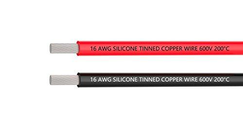 16 AWG Elektrokabel 6 Meter [3 m Schwarz und 3 m Rot] Flexibles 16-Gauge-Silikonkabel verzinnter Kupferdraht mit hohem Temperaturwiderstand