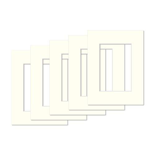 AlphaUVplus - 5 Stück - Passepartouts in Museumsqualität - 1,4mm stark - Creme Weiß - Außengröße: 40x50cm / für Foto: 30x40cm