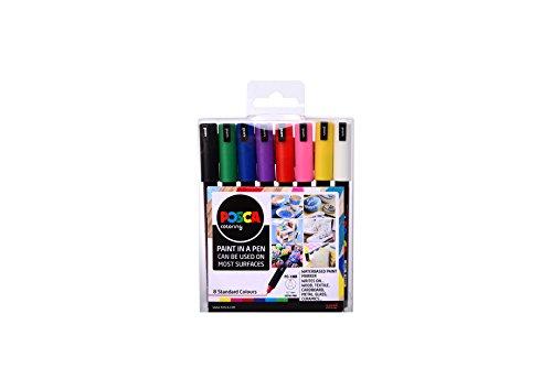 """Posca,F801811, POSCA PC-1MR """"Paint in a Pen""""-Starterset, 0,7 mm ultra-feine Spitze, wasserbasierte Filzstifte, 8 Farben, 8 satz, Multi"""