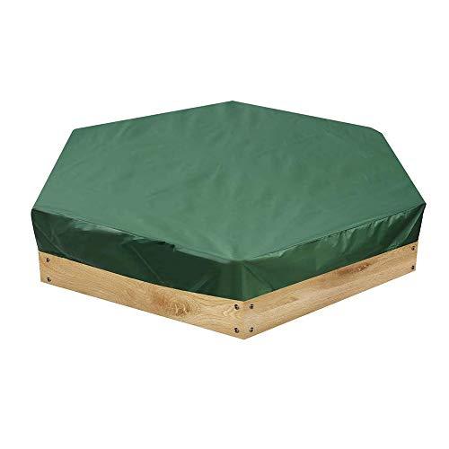 Muebles cubierta de polvo Hexagonal arcón de la arena cubierta UV a prueba de recinto de seguridad de la cubierta al aire libre a prueba de polvo y resistente al agua Juguete Arenero cubierta verde Fu