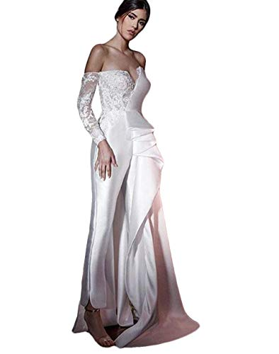 The Peachess Lace Stain Wedding Jumpsuit with Overskirt Train Off Shoulder Long Sleeve Bride Dress with Pant Suit White