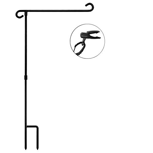 """HOOSUN Garden Flag Stand Holder Pole Easy to Install Strong Sturdy wrought iron Fits 12.5"""" x 18"""" Mini Flag with 1 Tiger Clip Curved hook with S type without flag"""
