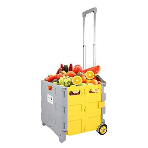 Carro del equipaje de la carretilla, carro de compras plegable portátiles del carrito de la compra de equipaje Carrito de compras del hogar Caja de almacenamiento del automóvil del hogar G1 (Color: A,