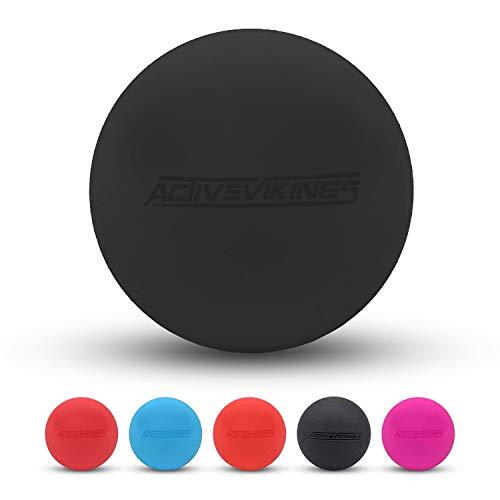 ActiveVikings® Massage-Ball - Ideal gegen Verspannungen und perfekt für Selbstmassage - Lacrosse-Ball und Faszien-Ball für Frauen und Männer (Schwarz)