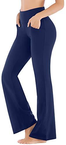 Ewedoos Bootcut Yoga Pants for Women High Waisted Yoga Pants with Pockets for Women Bootleg Work Pants Workout Pants (Dark Blue, XX-Large)