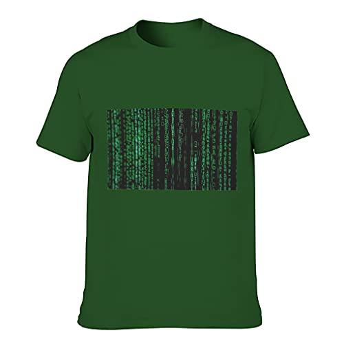 MiKiBi-77 Camiseta de algodón para hombre con diseño de código de individualidad ligera - manga corta estampada
