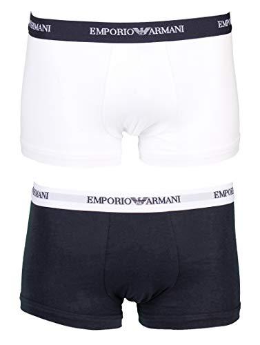 Emporio Armani Underwear Herren 111210CC717 Retroshorts, Mehrfarbig (Bianco/Marine 10410), Medium (2er Pack)
