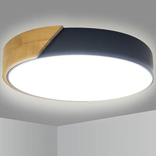 Lámpara de techo LED 24W 2400LM Kimjo, 6000K Blanco frío Ø30 * 5CM Lámpara de techo redonda de madera, Accesorio de iluminación para dormitorio Sala de estar Cocina Pasillo Hotel