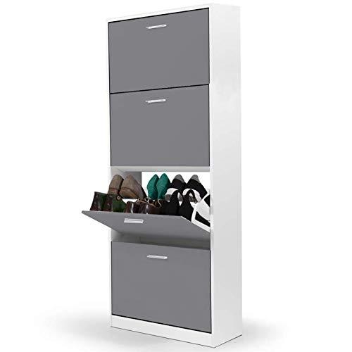 IDMarket - Meuble à chaussures blanc 4 portes gris clair